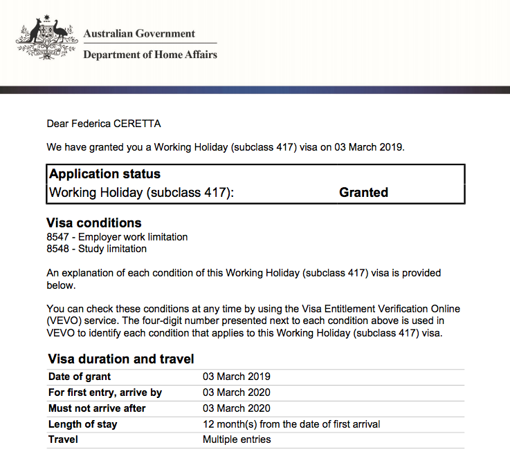 Trasferirsi in Australia: Approvazione del secondo Working Holiday Visa