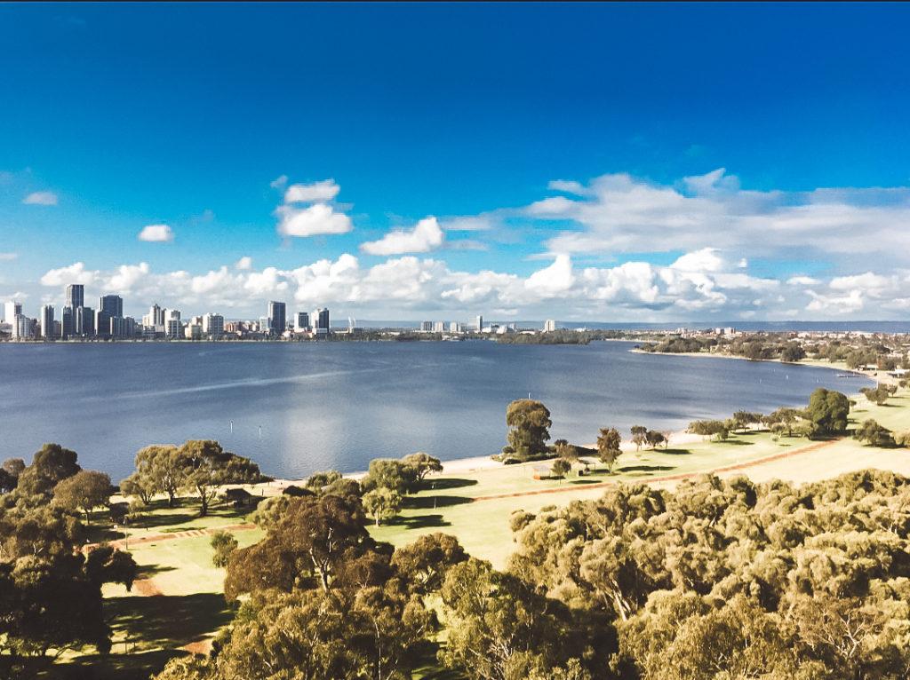 Vista della città da South Perth